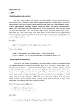 DERS İÇERİKLERİ - Tunceli Üniversitesi