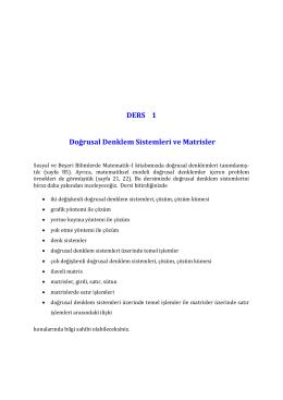 DERS 1 Doğrusal Denklem Sistemleri ve Matrisler