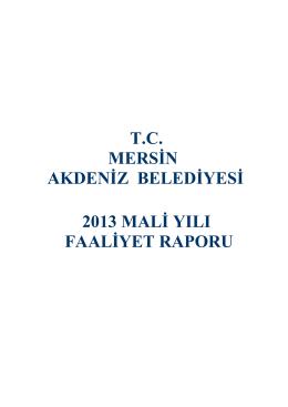 faaliyet raporu - Akdeniz Belediyesi