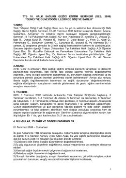 1 ttb 18. halk sağlığı gezđcđ eğđtđm semđnerđ (ges, 2006)