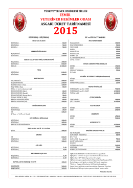 2015 Asgari Ücret Tarifnamesi - İzmir Veteriner Hekimler Odası