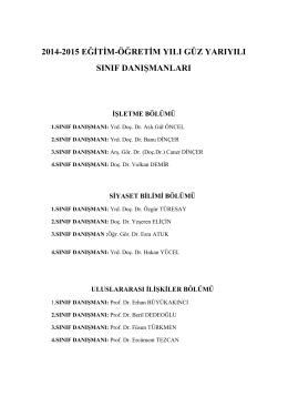 2014-2015 eğitim-öğretim yılı güz yarıyılı sınıf danışmanları