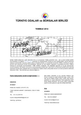 2014 Temmuz (pdf-235 Kb) - Dünyadan İşbirliği Teklifleri