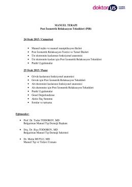 MANUEL TERAPI Post İzometrik Relaksasyon Teknikleri (PIR) 24