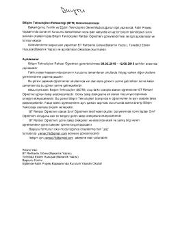 Bili~im Teknolojileri Rehberligi (BTR) Gorevlendirmesi Bakanltglmlz