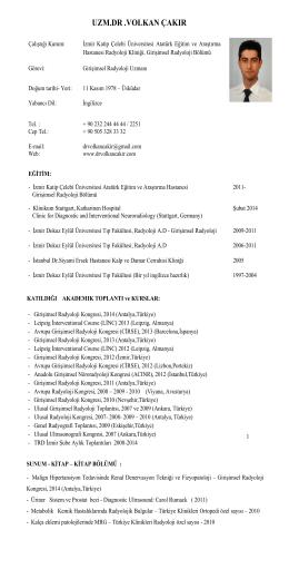 Uzm.Dr.Volkan ÇAKIR - Girişimsel Radyoloji Uzmanı
