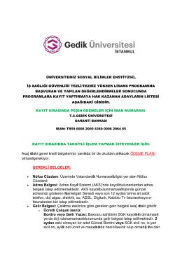 sonuçlar - Gedik Üniversitesi