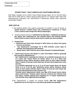 İNTERNET PAKETLİ TABLET KAMPANYALARI