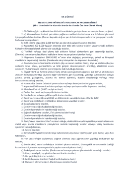 Seçme Eleme Kriterleri Uygulanacak Projeler Listesi