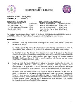 22/08/2014 Tıp Fakültesi Yönetim Kurulu Kararı