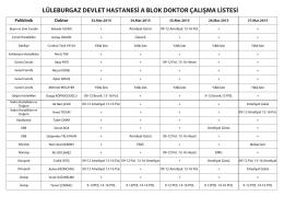 lüleburgaz devlet hastanesi a blok doktor çalışma listesi