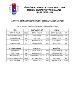 hakemler - Türkiye Cimnastik Federasyonu