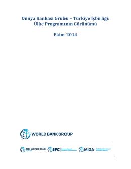 Dünya Bankası Grubu – Türkiye İşbirliği: Ülke