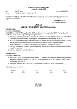u11 tertip komitesi kararı - T.F.F. İstanbul İl Başkanlığı