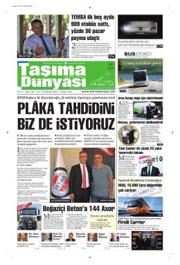 Taşıma Dünyası Gazetesi-143-PDF 16 Haziran 2014 tarihli sayısını