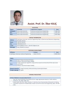 Assist. Prof. Dr. İlker KILIÇ