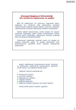 30.04.2014 1 Kimyasal Reaksiyon Mühendisliği Hız