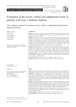 Evaluation of the serum visfatin and adiponectin levels in patients