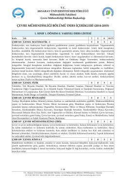 NİĞDE ÜNİVERSİTESİ - Çevre Mühendisliği Bölümü