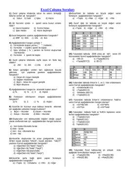 Hesap Tablosu Programı (EXCEL) Sınava Çalışma Soruları