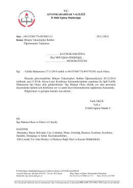 Müdürlüğümüzün konu ile ilgili 28/11/2014 tarih ve 5803112 sayılı