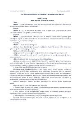 Millî Eğitim Bakanlığı Özel Öğretim Kurumları Yönetmeliğinde