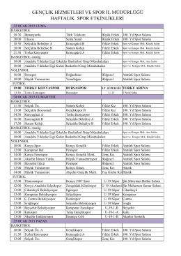 23-30 OCAK 2015 HAFTALIK BÜLTEN