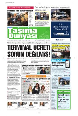 Taşıma Dünyası Gazetesi-130-PDF 17 Mart 2014 tarihli sayısını