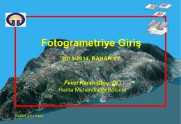 Fotogrametri - Gümüşhane Üniversitesi Harita Mühendisliği
