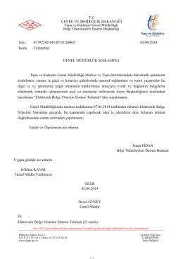 (EBYS) Talimatı - Tapu ve Kadastro Genel Müdürlüğü