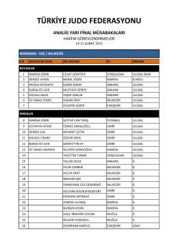analig yarı final müsabakaları türkiye judo federasyonu