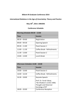 Bilkent IR Graduate Conference 2014 International Relations in the