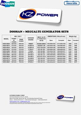 DOOSAN + MECCALTE GENERATOR SETS