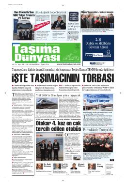 Taşıma Dünyası Gazetesi-122-PDF 20 Ocak 2014 tarihli sayısını