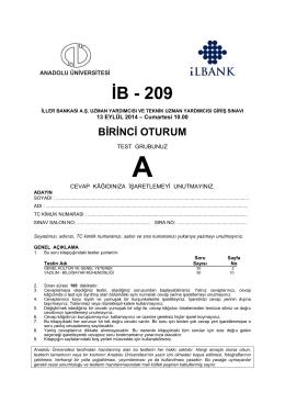 İB - 209 - Anadolu Üniversitesi Sınav Hizmetleri