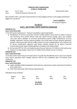 u19 tertip komitesi kararı - T.F.F. İstanbul İl Başkanlığı
