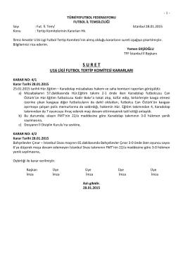 u16 tertip komitesi kararı - T.F.F. İstanbul İl Başkanlığı