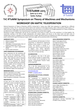 TrC IFToMM Symposium on Theory of Machines and Mechanisms