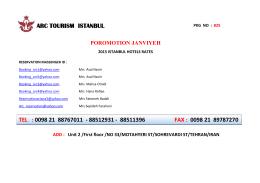 0098 21 88767011 - 88512931 - 88511396 fax : 0098 21 89787270