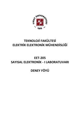 EET-205 Sayısal Elektronik - I Laboratuvarı Deney Föyü