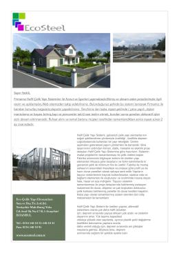 Eco Çelik Yapı Elemanları San.ve Dış.Tic.Ltd.Şti. Yenişehir Mah