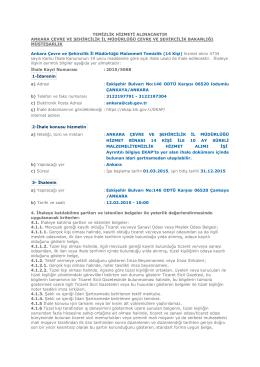 Ankara Çevre ve Şehircilik İl Müdürlüğü Malzemeli Temizlik (14 Kişi)