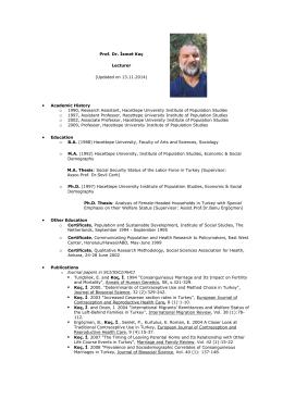 Prof. Dr. İsmet Koç - Nüfus Etütleri