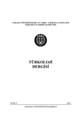 TÜRKOLOJİ DERGİSİ - Ankara Üniversitesi Dergiler Veritabanı