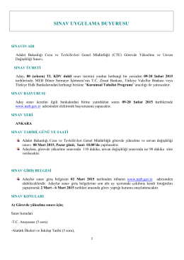sınav uygulama duyurusu - Milli Eğitim Bakanlığı
