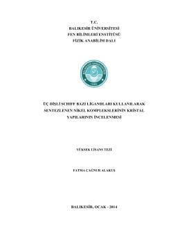 tc balıkesir üniversitesi fen bilimleri enstitüsü fizik anabilim dalı üç