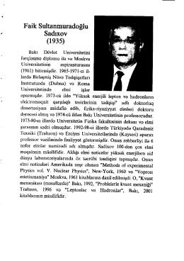 Faik Sultanmuradoflu - SDU