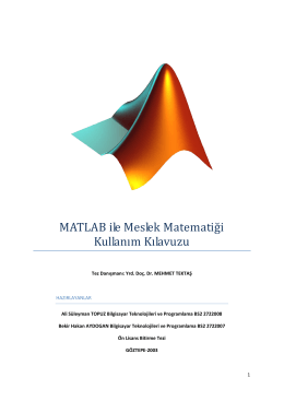 MATLAB ile Meslek Matematiği Kullanım Kılavuzu