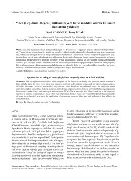 Maca (Lepidium Meyenii) bitkisinin yem katkı