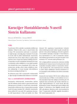 Karaciğer Hastalıklarında N-asetil Sistein Kullanımı